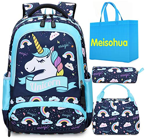 Mochila Unicornio Niños Impermeable Mochila Escolar para Adolescente Pequeñas Mochilas Infantil Bolso para Chicas para La Escuela,Viajes,Intemperie Juego de 3 (Azul)