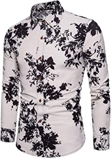Qiyun Autumn Shirt Single-Breasted Shirt of Long Sleeves and Turn-Down Collar Floral Printed Top for Man