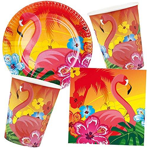 25-teiliges Partyset * FLAMINGO * mit Teller + Becher + Servietten + Deko // Hibiskus Hawaii Garten Sommer Party Set Gartenparty Kinder Sonne Strand