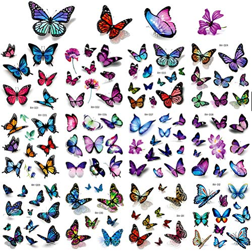 120 Pcs Butterfly Tattoo, 3D Tattoo Stickers Temporary Tattoos for Women Kids Colorful Body Art Temporary Tattoos