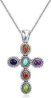 Southwestern Style Multi Color Gemstone Stones Bezel Set Cross Pendant Necklace For Women 925 Sterling Silver