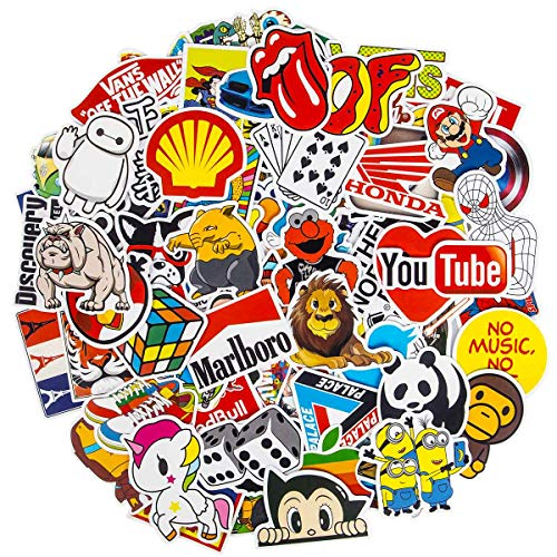 Markenaufkleber, 100 Stück, coole Aufkleber, wasserdichte Vinyl-Aufkleber für Wasserflaschen, Skateboard-Aufkleber für Teenager, Laptop, Motorrad, Fahrrad, Graffiti-Patches
