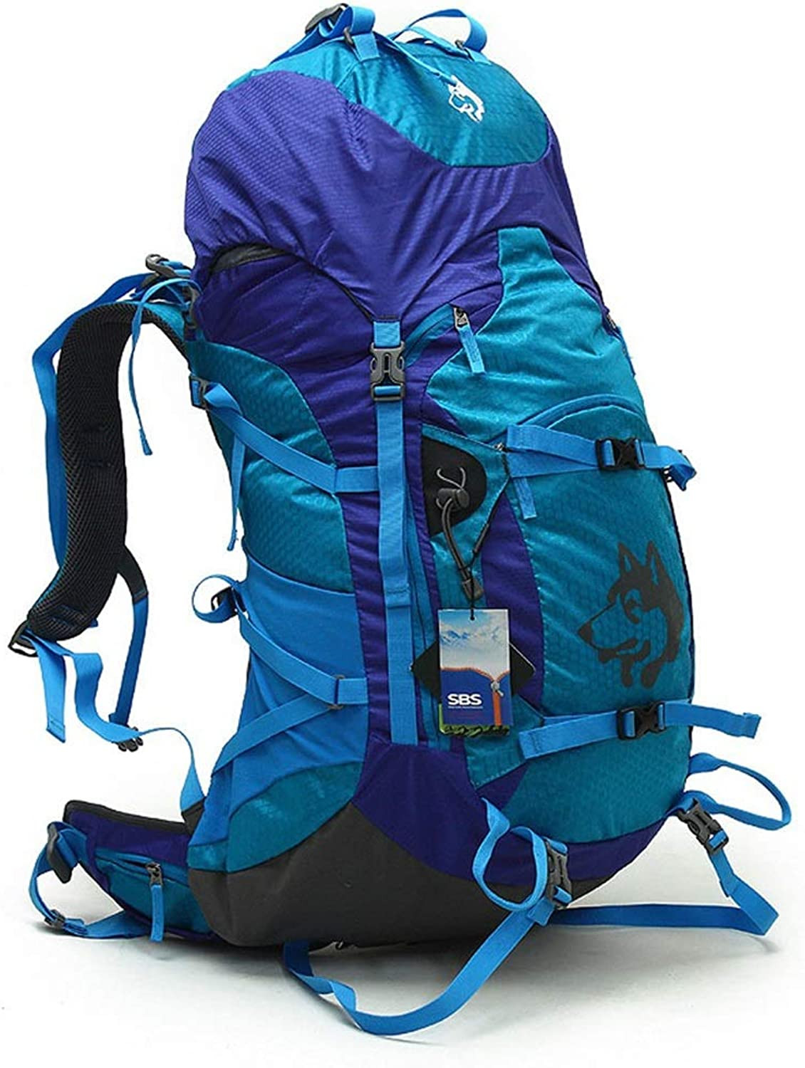 Outdoor Camping Backpack Unisex Hiking Backpack 55L Large Capacity Travel Hiking Bag Waterproof Sports Backpack (color   blueee)