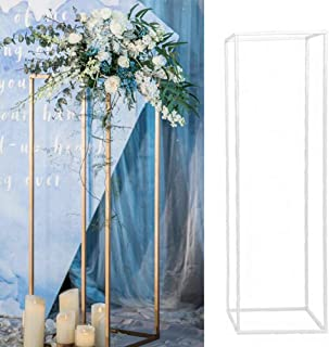 S28esong Wedding Flower Vase Metal Column Flower Stand,Rectangular Vases Stand Prop Detachable Party Wedding Centerpiece Event Road Lead Flower Rack,21x21x40cm