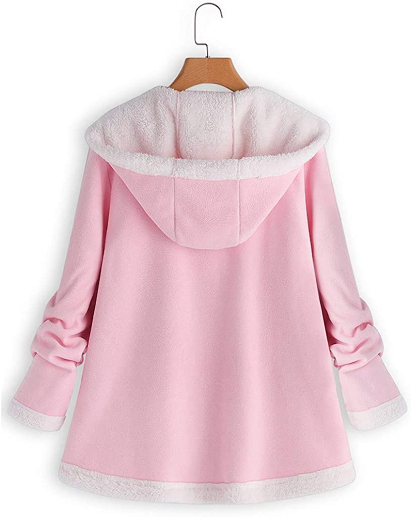 Riou Damen Fleecejacke mit Kapuze Winter Teddy Fleece Gefüttert Warme Vintage Elegant Einfarbig Oversize Mittlere Länge Winterjacke Mantel Rosa