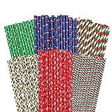 150 pajitas de papel de Navidad biodegradables reciclables para beber pajitas coloridas para fiestas...
