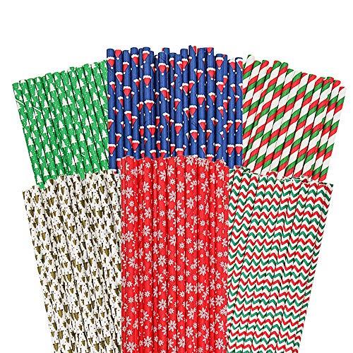 Cannucce di carta biodegradabili riciclabili riciclabili per feste di Natale, compleanno, matrimonio, confezione da 150