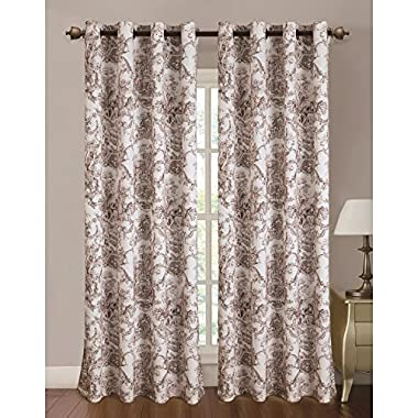 RT Designers Collection Toile Printed 110 x 84 in. Grommet Curtain Panel Pair, Coffee