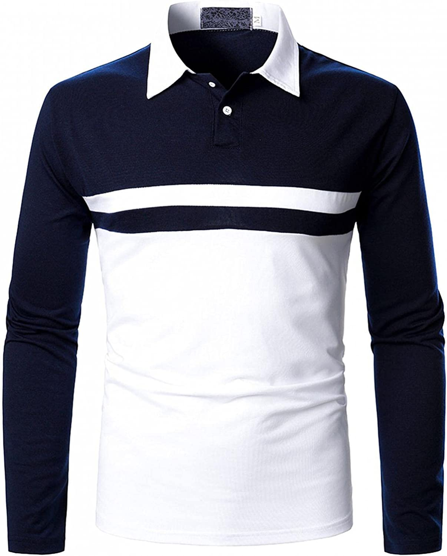 Financial sales sale Mens Long Sleeve Polo Shirt Stitching Casual Fit Fashio Regular Bargain sale