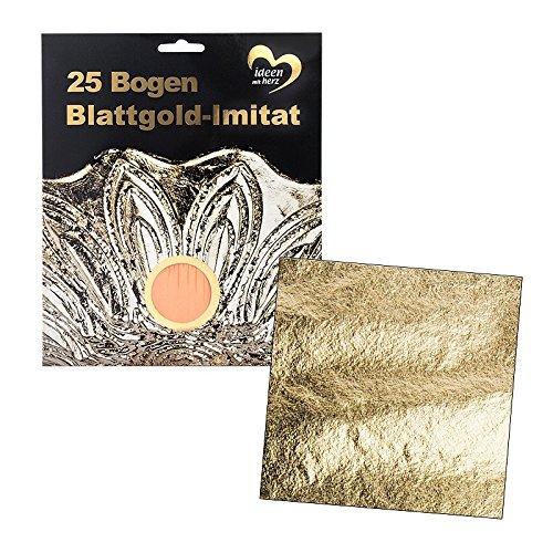 Blattgold-Imitat, 15cm x 15cm, 25 Bogen | Imitation zur Vergoldung von Flächen & Gegenständen | Basteln, Kunst, Dekoration, DIY, Handwerk, Upcycling | gold