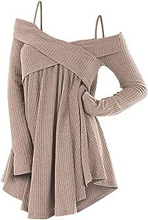 ZEZCLO Cold Shoulder Crisscross Tunic Sweater Women Straps Long Sleeve Knitwear Pullover Shirt Tops