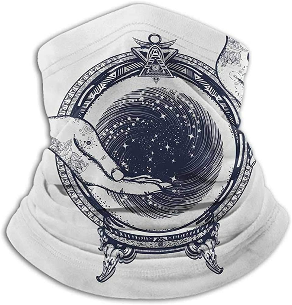 Bandanas For Women Gypsy Cold Weather Face Cover Fortune Teller Tattoo Art Design Predicting the Future Theme Mystery Magic Dark Blue and White