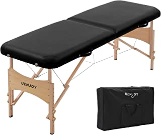 Uenjoy Massage Bed 72'' Professional Folding Massage Table 2 Fold, Basic & Portable, Black