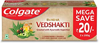Colgate Swarna Vedshakti Ayurvedic Toothpaste with anti-germ properties for whole mouth protection - 400gm (Saver Pack)