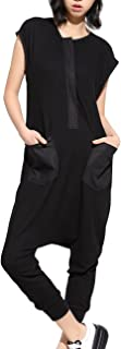 Women Summer Black Harem Pants Rompers Sleeveless Jumpsuits GY867