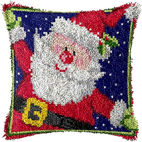 QAZWSX Crochet Kit Weihnachtshandwerk Latch Hook Kit, DIY-Latch-Haken-Kits for Erwachsene, Handlatch-Latch-Haken-Kit, unfertiger Häkel-Sofa-Kissenbezug, 43 × 43 cm handgefertigt (Color : C)