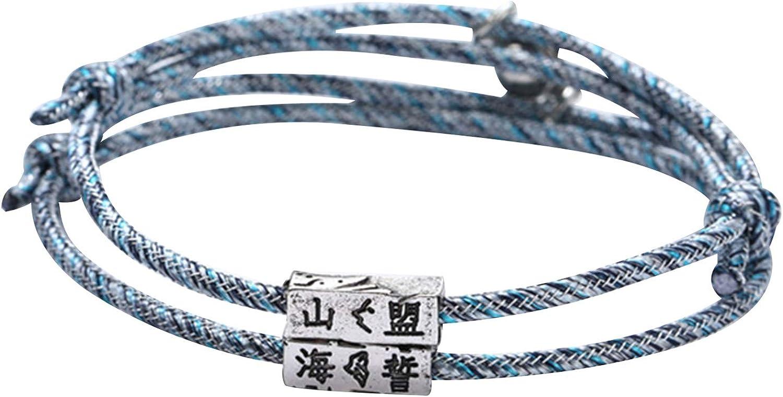 SANWOOD Couples Bracelets,2Pcs Unisex Couple Magnetic Bracelet Rope Braided Lover Valentine Gift Jewelry