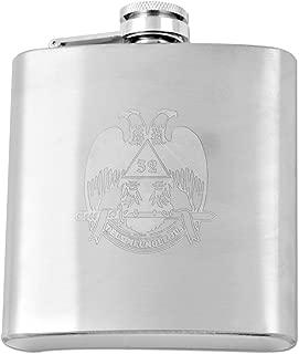 Laser Engraved 32nd Degree Scottish Rite Masonic 6 Ounce Flask