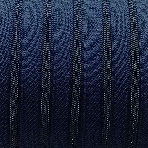 garnimex Endlos-Reißverschluss 3 mm dunkelblau - 4 m Meterware + 12 Zipper - Farbe 023