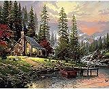 Punto Croce Ricamare Kit Bellissimi Artigianali - Wilderness Lodge - 11CT Stampa contato Tessuti Punto Croce Ricamo Kit Mestieri Adulto Decorazio Fai da Te 40X50CM