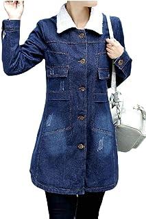 maweisong 女性クラシック暖かいシェルパは、ミドルロングデニムジャケットジャンコートを着用