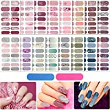 224 Pieces 16 Sheets Full Wrap Nail Stickers Nail Polish Stickers 3D Rhinestone Patterns Self-Adhesive Nail Art Decals Strips Manicure Kits Nail Art Designs with 2 Pieces Nail Files for Women Girls