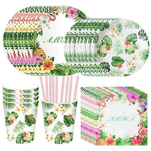 DreamJing Flamingo Rose Vert Vaisselle Jetables Table 69Pcs, Assiette Carton Tasse Serviette en Papier Paille pour Filles Anniversaire Thème Flamant Fête d'été Party Hawaiian Tropicale Baby Shower