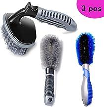 FLY OCEAN Wheel Rim Brush,Easy Reach Rim Tire Cleaner Brush Soft Bristle and Hard Bristle,Car Detailing Brush,Multipurpose...