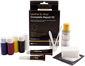 FurnitureClinic Leather & Vinyl Complete Repair Kit   Leather Repair Kit for Couches, Car Seats & Furniture   Quickly Repair Rips, Holes, Tears & Burns (White)