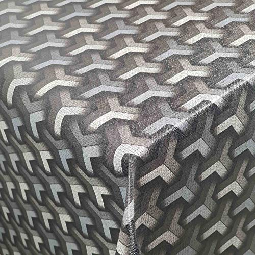 DecoHomeTextil Wachstuch Wachstischdecke Tischdecke Gartentischdecke Robust Rattan Grau Breite & Länge wählbar 120 x 180 cm Eckig abwaschbar geprägt