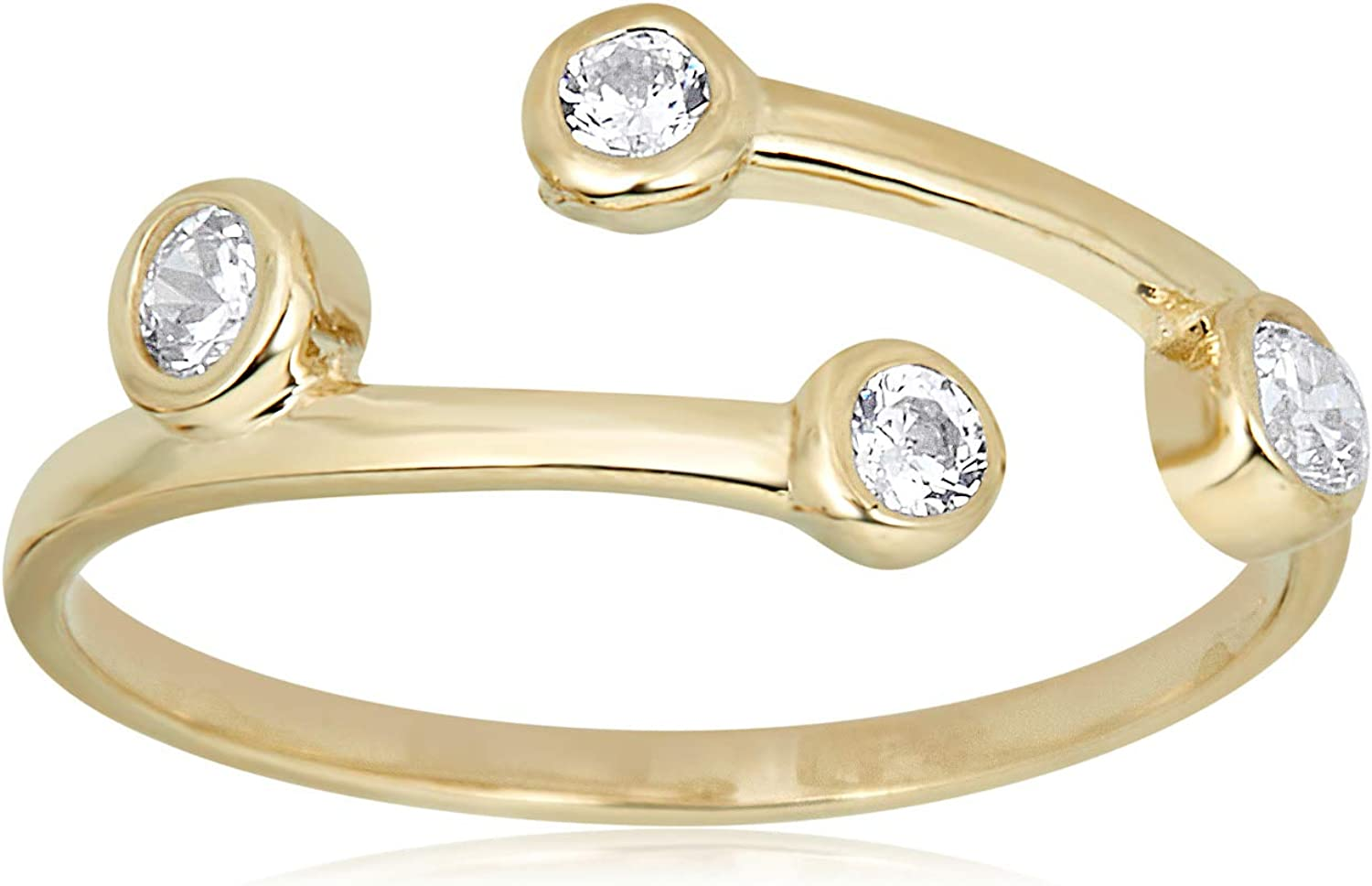 AVORA 10K Yellow Gold Adjustable Toe 40% OFF Cheap Jacksonville Mall Sale Bypass Bezel-Set Ring with