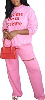Women's Fashion 2 Piece Outfits Pajamas Letter Printing Sweatshirt Pipped Sweatpants Tracksuit Sets