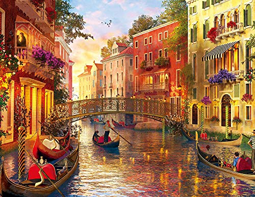 HUADADA 1000 Piece Jigsaw Puzzles, Jigsaw Puzzles for Adults Teenagers Jigsaw Puzzle Sunset in Venice (70x50cm)