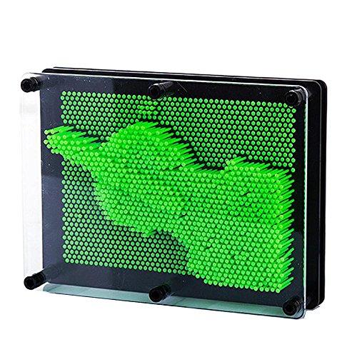 FTXJ Novelty 3D Plastic Pin Art Sculpture Point Impressions Board Desktop Decor Toy For Kids (Green)