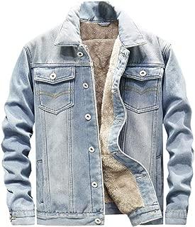 Ladyful Men's Sherpa Lined Denim Jacket Coat Classic Winter Trucker Outcoat