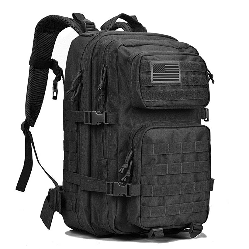 REEBOW GEAR Military Tactical Backpack Large Army 3 Day Assault Pack Molle Bug Bag Backpacks Rucksacks for Outdoor Hiking Camping Trekking Hunting Black
