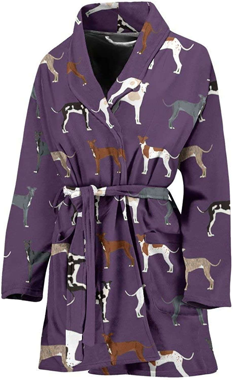 Deruj Italian Greyhound Dog Pattern Print Women's Bath Robe