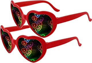 2 Pairs Heart Effect Diffraction Glasses - See Hearts! - Unisex Adults Raves Music Festivals Heart Sunglasses Special Effect