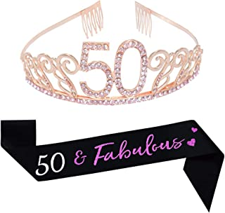 Happy 50th Birthday Decorations Party Supplies Favors, 50th Birthday Pink Tiara and Sash, 50 & Fabulous Satin Sash and Rhinestone Birthday Crown for 50th Birthday Party Supplies 50th Birthday Cake Topper