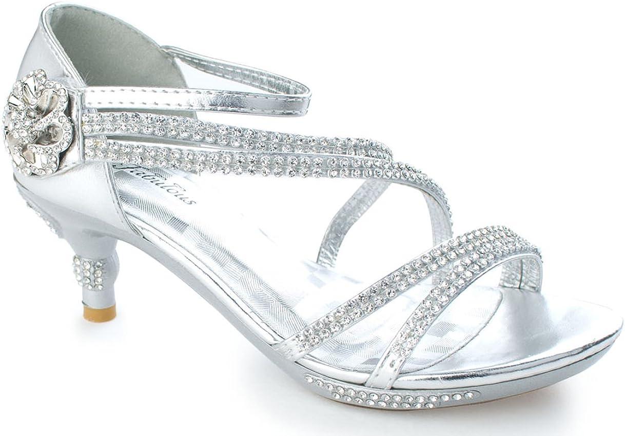 OLIVIA KOO Gorgeous Rhinestones Girls Kitten Heel Shoes (Sizes Kids 9-Youth 4)