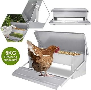 UISEBRT - Comedero automático para gallinas, 5 kg, de acero galvanizado, para aves de corral, impermeable y a prueba de ratas