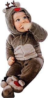 7d0c4bd165371 Barboteuse Noel Bébé Unisexe Ensemble de Pyjama Renne Flanelle Combinaison  de Nuit Vêtement Grenouillère Animaux Cosplay