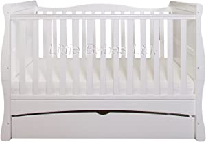 New Baby White Sleigh Mason Cot Bed with Drawer  amp  High Density Foam Mattress  CMHR28  140x70x10cm Converts Junior Bed Toodler Bed