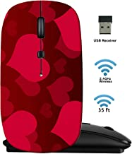 MSD Wireless Mouse 2.4G Travel Mice with USB Receiver, Noiseless and Silent Click with 1000 DPI for Notebook PC Laptop Computer MacBook Black Base Image ID: 889036 Heart Background