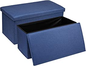Baskiss 2 Packs 30 Large Storage Ottoman, Foldable Linen Fabric Bench Foot Rest for Bedroom, Entryway, Living Room