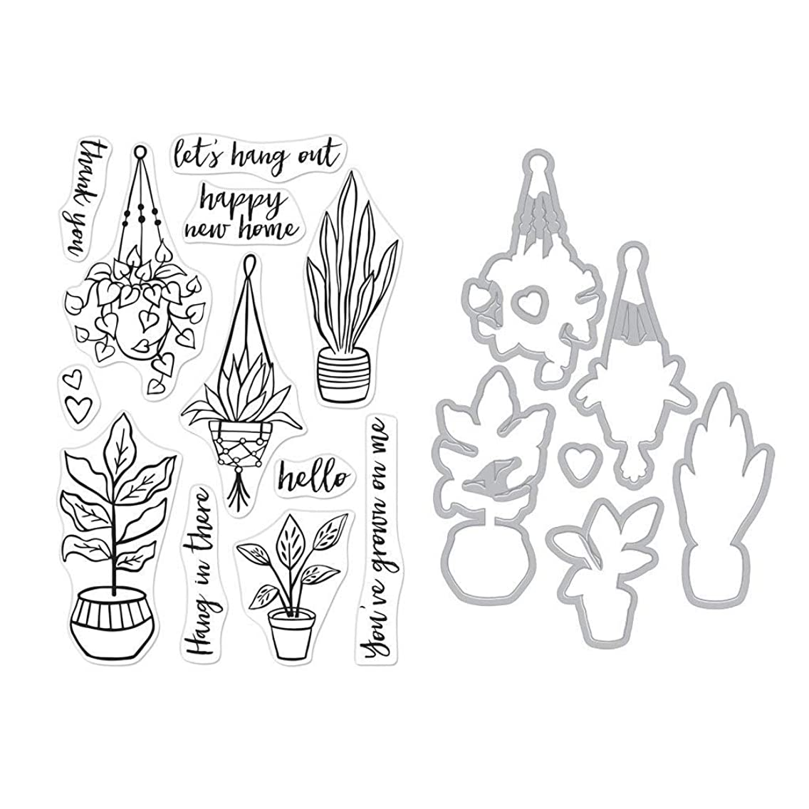 Hero Arts SB230 Stamp and Frame Cuts Combo Set, Hang in There Potted Plants