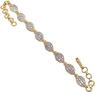 "Geode Delight CZ Leaf Shape Gold Plated Bracelet 7-8"" for Women & Girls"