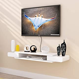 MXK Wall Stand TV Cabinet TV Stand Set Top Box Shelf TV Console Storage Unit Organizer DVD Rack Cable Box White Floating Shelf (Size : 90cm)