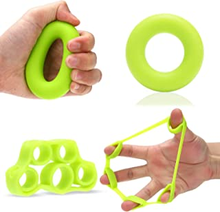FEGSY Silicon Finger Stretcher, Hand Grip Exerciser, Palm Strengthener for Athletes, Musicians, Therapy, and Stress Relief...