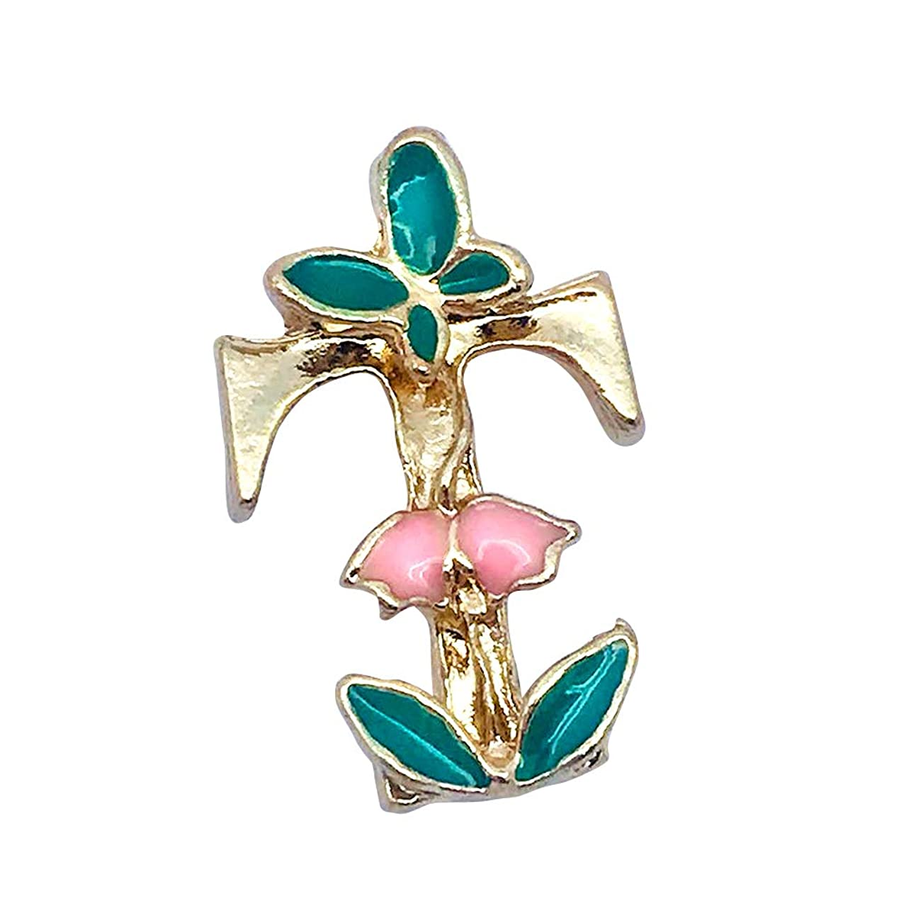 M290-E 8pcs New Cute Tiny Initial Letter T Green Butterfly Pink Bellflower Bracelet Charms Pendants Wholesale